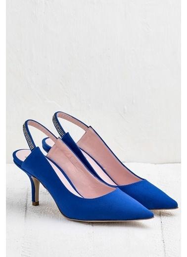 Elle İnce Topuklu Sivri Burun Ayakkabı Saks